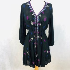 Free People Embroidered Mini Dress